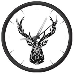 Clock with geometrical deer print