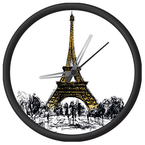 Clock with eiffel tower print