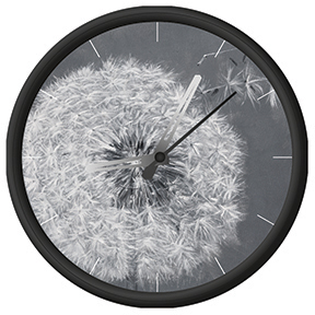 Clock with dandelion print