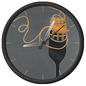 Clock with pasta print