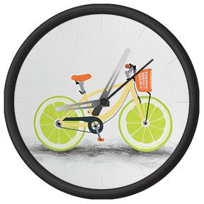 Clock with funny bike print