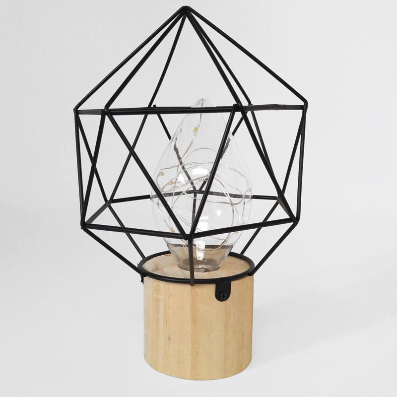 Black metal lamp with wood base