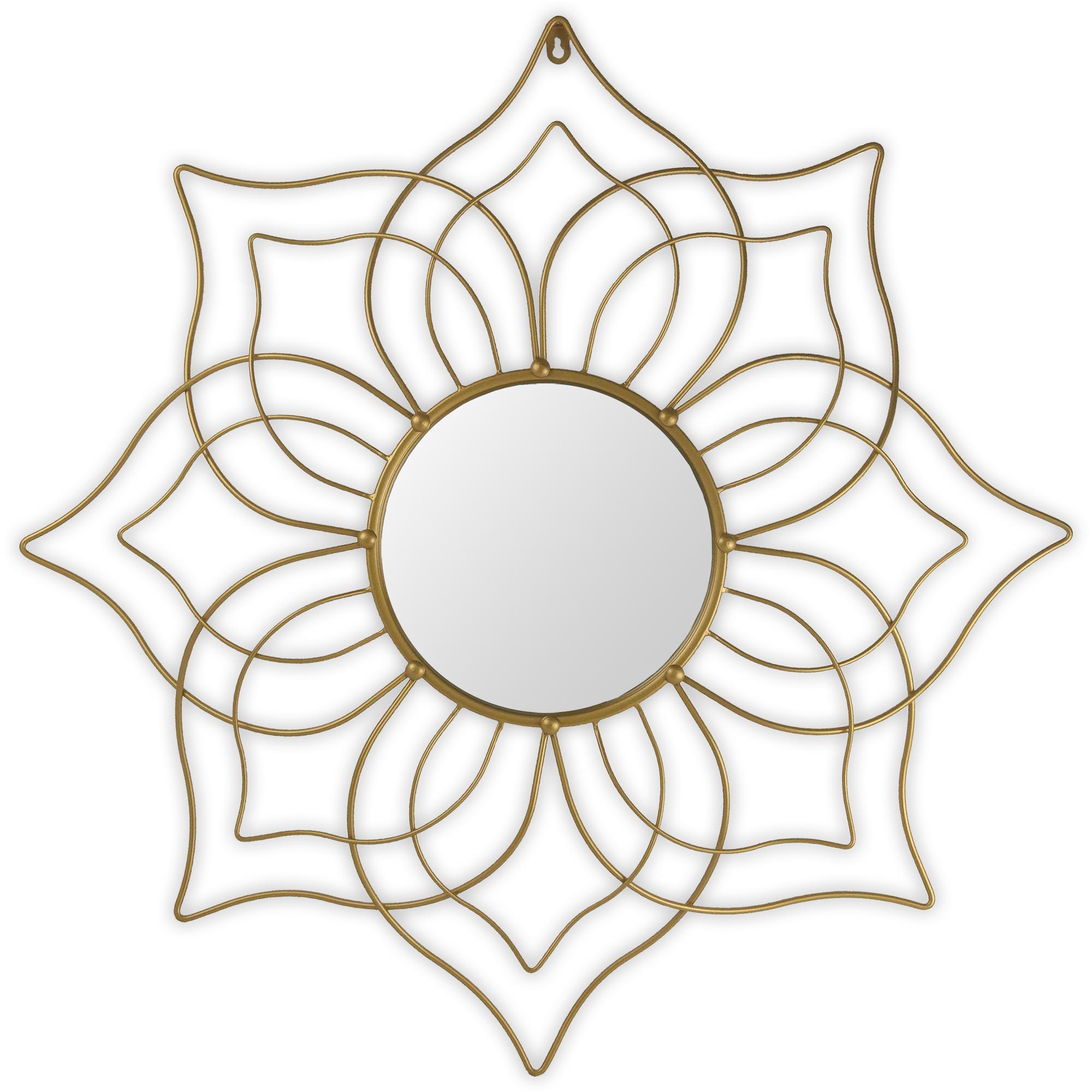 Miroir fleur de métal doré