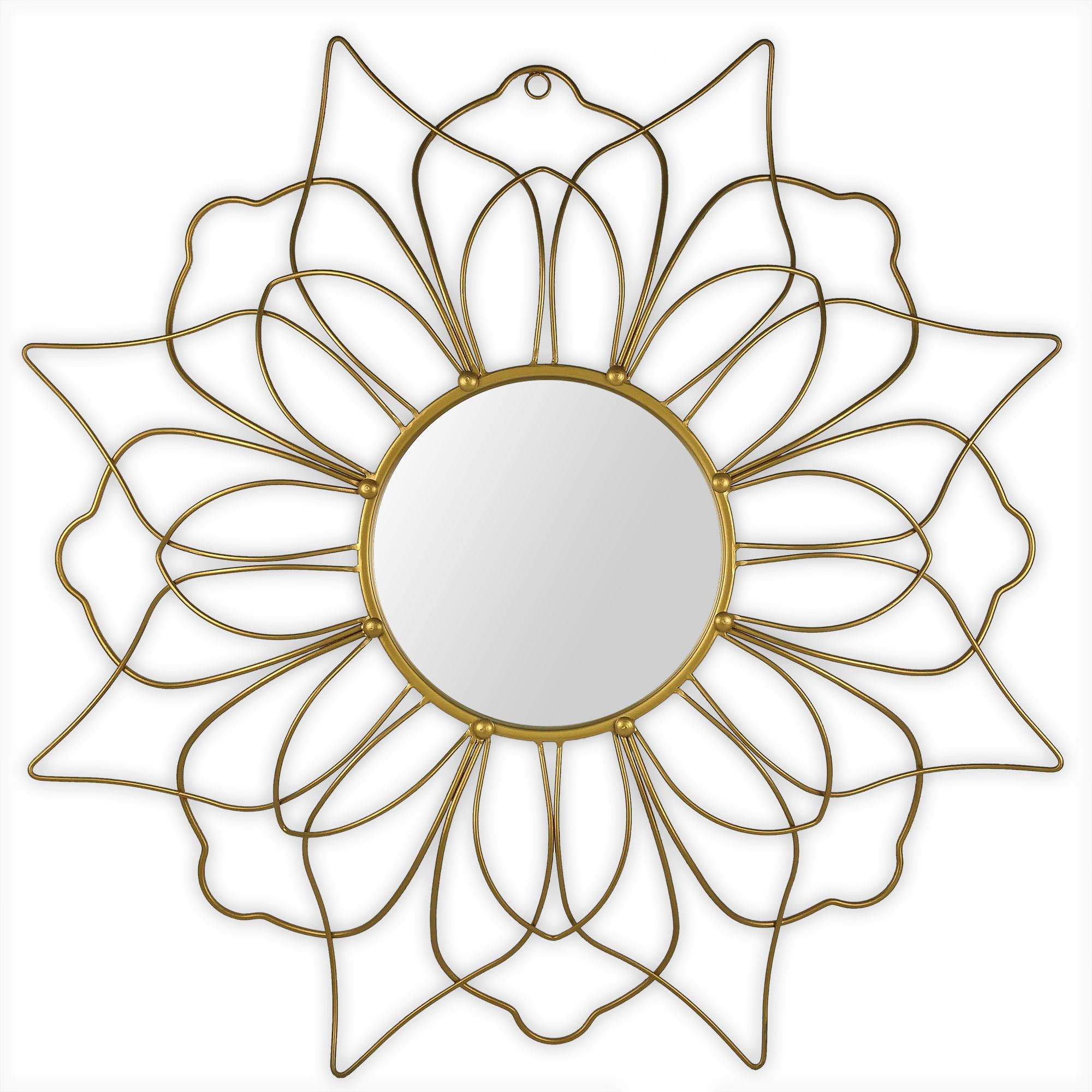 Miroir fleur de métal doré à 2 rangées de pétales