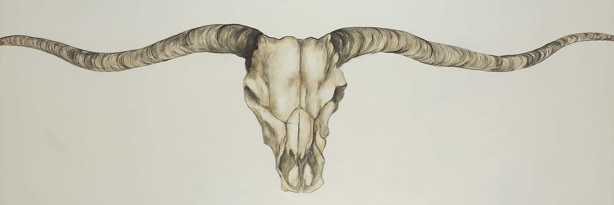 Crâne à longues cornes de style western